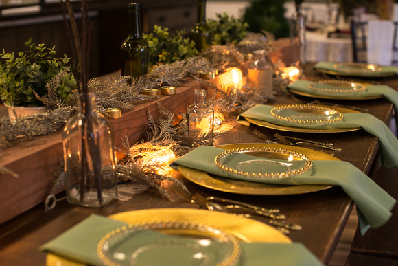 Home » Styled Shoots with Mod Events by Jessie Lynn » Christmas Green and Gold Table Settings & Corey Elizabeth Photography | Christmas Green and Gold Table ...